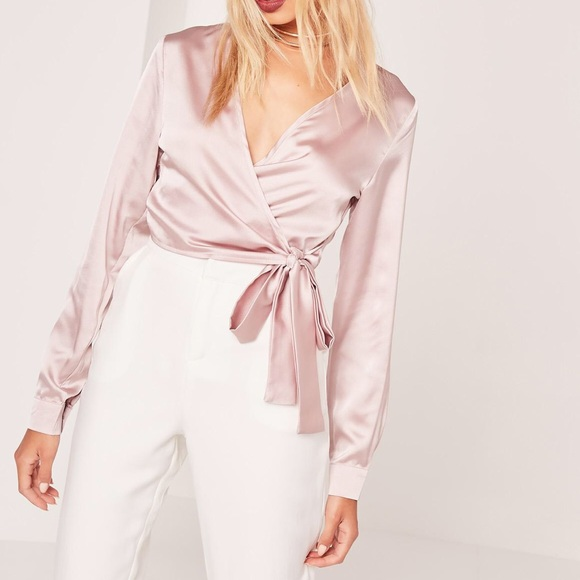 b52d7615b65 Missguided Tops | Long Sleeve Satin Wrap Front Crop Pink | Poshmark